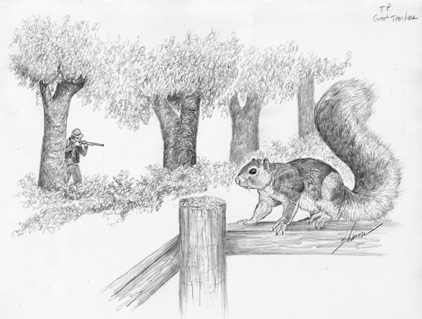 A man hunting a squirrel before the infestation comes.(Artwork by Sharon Davis. Contact us for her contact info.)